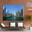 Modern City River Glass Skyscrapers HUGE GIANT Print Poster