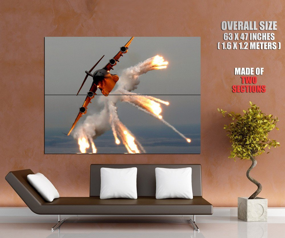 Heavy Aircraft Flares Smoke HUGE GIANT Print Poster