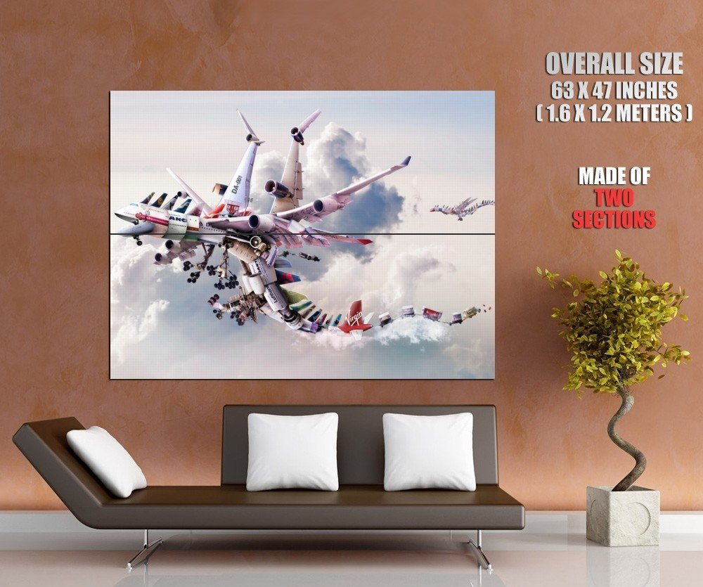 Dragon Mixed Airplane Cool Aircraft HUGE GIANT Print Poster