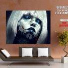 Robotic Cyborg Girl Face Painting Art HUGE GIANT Print Poster