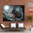 Full Moon Wolf Dark Art Huge Giant Print Poster