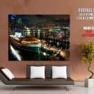 Sydney Port Night Lights Painting Art HUGE GIANT Print Poster