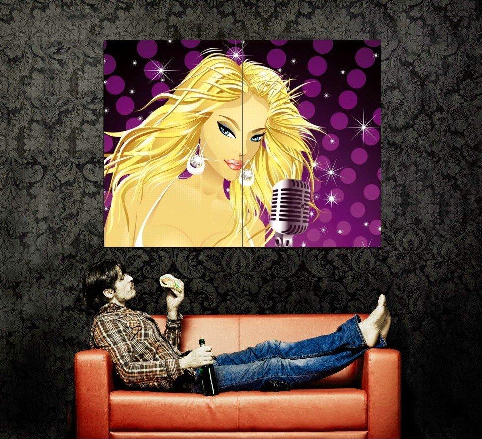 Glamour Golden Girl Blonde Singer Vector Art Huge 47x35 Print POSTER