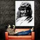 Native American BW Drawing Art Indians Huge 47x35 POSTER