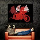 Red Demon Girl Art Classic Bike Huge 47x35 Print POSTER