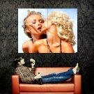 Sexy Blonde Hotties Kissing Lesbian Huge 47x35 Print POSTER