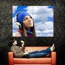 Smiling Girl Geadphones Sky Huge 47x35 Print POSTER