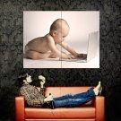 Laptop Baby Kid Child Hi Tech Huge 47x35 Print Poster