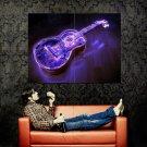 NEON GUITAR Lights Creative Cool Art Huge 47x35 Print Poster