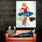 Pin Up Sexy Hot Girl Painting Vintage Art Huge 47x35 Print Poster