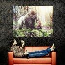 Gorilla Animal Little Girl Child Huge 47x35 Print Poster
