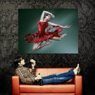 Hot Dancing Girl Red Splashes Dress Huge 47x35 Print Poster