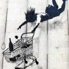Fall Shopping Cart Banksy Graffiti Street Art 32x24 Print POSTER