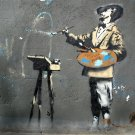 Artist Painting Banksy Graffiti Street Art 32x24 Print POSTER