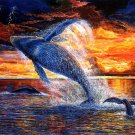Whale Jump Sunset Sea Beautiful Painting Art 32x24 Print POSTER