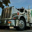 Peterbilt Shiny Chrome Truck Trailer 32x24 Print POSTER
