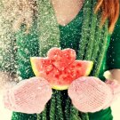 Girl Watermelon Snow Winter Heart 32x24 Print POSTER