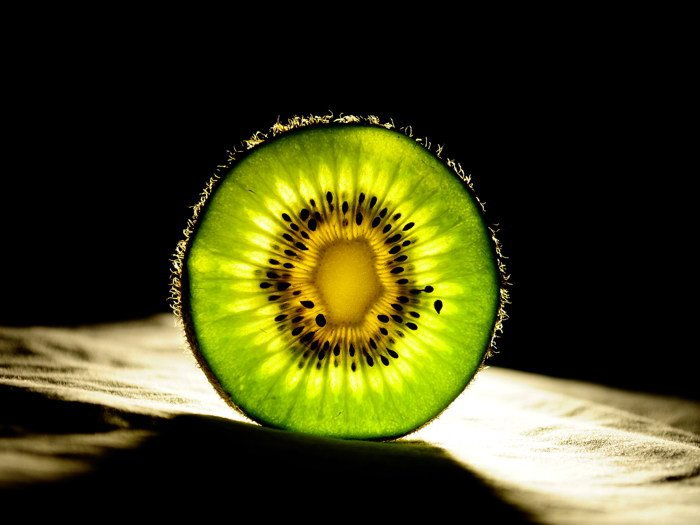KIWI Fruit Glassy Light Shadow Macro 32x24 Print POSTER