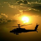 Helicopter Military Aircraft Sunset 32x24 Print Poster