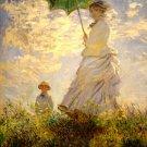 Femme Au Parasol Claude Monet Painting Retro 32x24 Print Poster