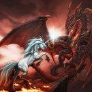 Unicorn Vs Dragon Fantasy Artwork 32x24 Print Poster