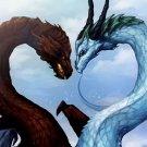 Dragons Fantasy Art Love Heart 32x24 Print Poster