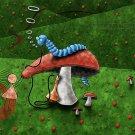 Mushroom Worm Lewis Carroll Art 32x24 Print Poster