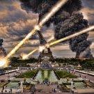 Eiffel Tower Paris Asteroid Strike 32x24 Print Poster