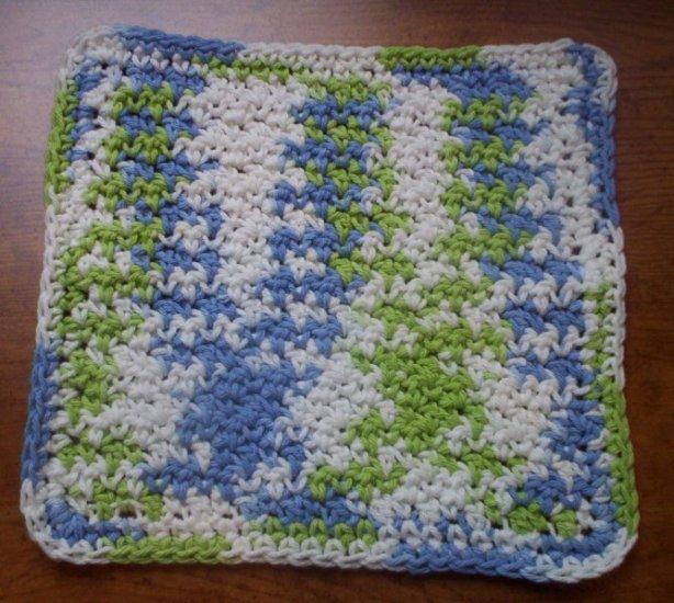 100% Cotton Crochet Dishcloth Cool Breeze