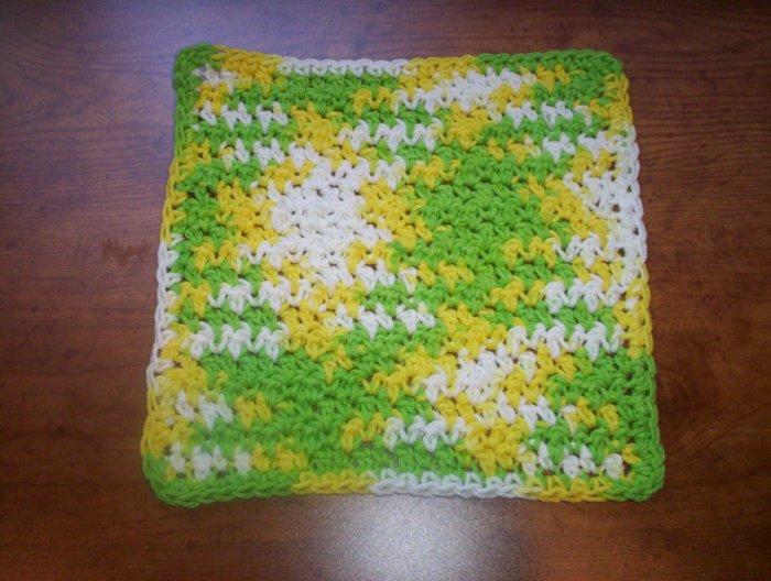 100% Cotton Crochet Dishcloth Lemon Lime