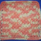 100% Cotton Crochet Dishcloth Orange Sherbet