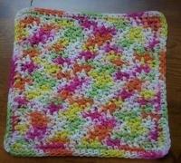 100% Cotton Crochet Dishcloth Over the Rainbow