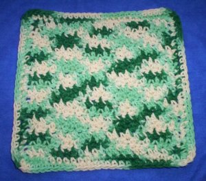 100% Cotton Crochet Dishcloth Ecru Shades of Green