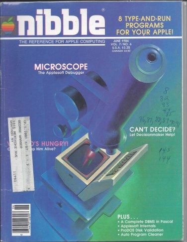 Nibble Magazine, June 1986, Marked, for Apple II II+ IIe IIc IIgs