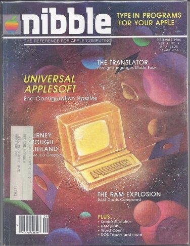 Nibble Magazine, September 1986, for Apple II II+ IIe IIc IIgs