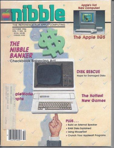 Nibble Magazine, October 1986, Marked, for Apple II II+ IIe IIc IIgs