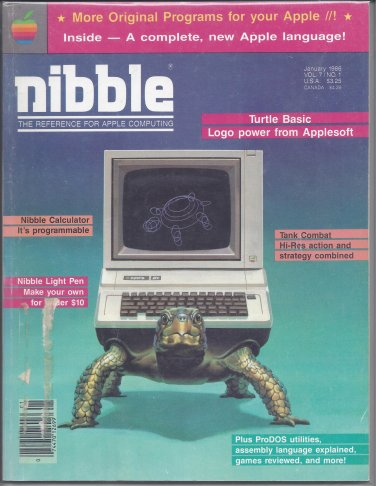 Nibble Magazine, January 1986, for Apple II II+ IIe IIc IIgs