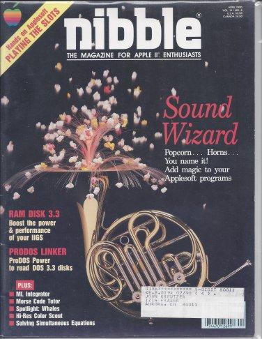 Nibble Magazine, April 1990, for Apple II II+ IIe IIc IIgs