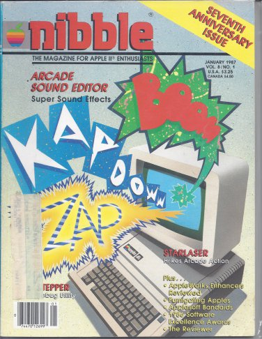 Nibble Magazine, January 1987, for Apple II II+ IIe IIc IIgs