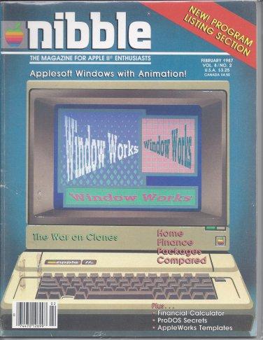 Nibble Magazine, February 1987, for Apple II II+ IIe IIc IIgs