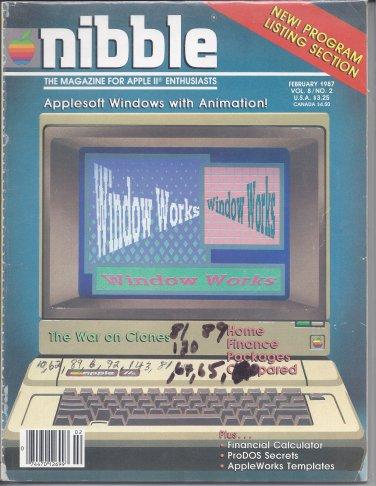 Nibble Magazine, February 1987, Marked, for Apple II II+ IIe IIc IIgs