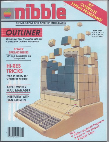 Nibble Magazine, May 1987, Front Cover Damage, for Apple II II+ IIe IIc IIgs