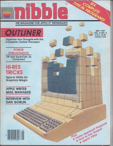 Nibble Magazine, May 1987, Back Cover Torn, for Apple II II+ IIe IIc IIgs