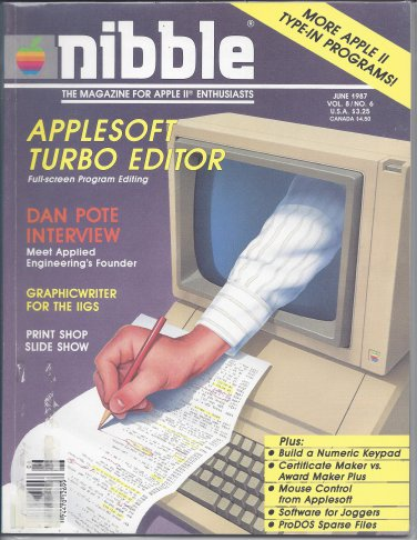 Nibble Magazine, June 1987, for Apple II II+ IIe IIc IIgs