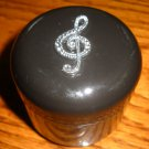 Musical clef Black Stash Jar 1 OZ container massage oil box