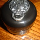 Wolf Stash Pill Case Advent 1/2 oz Jar black w/silver Wolf head Jewelry box can