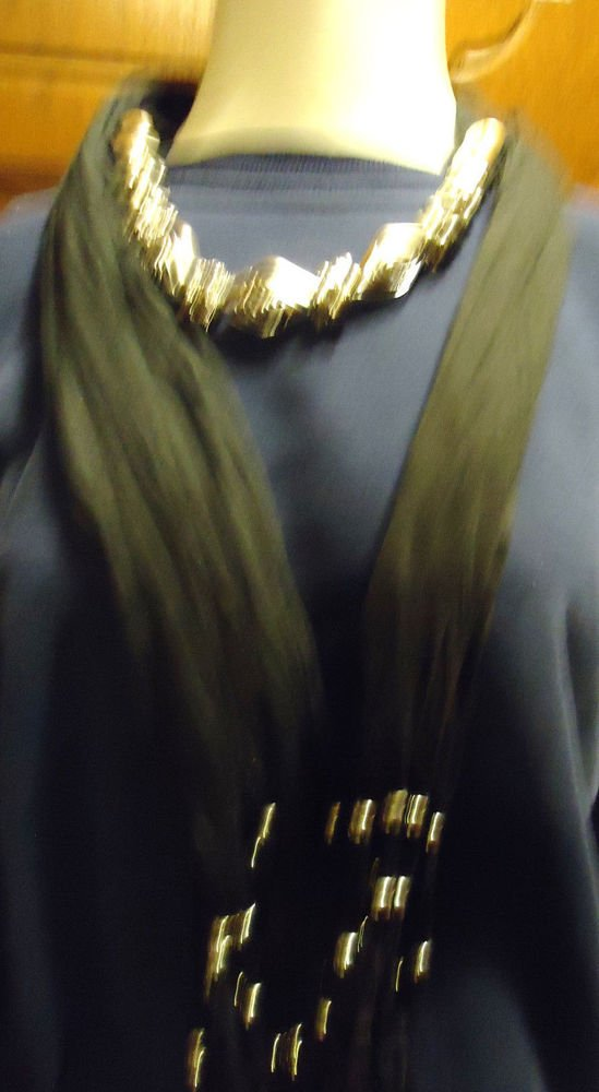 DESIGNER WOMEN'S BLACK SCARF WITH DECORATIVE SILVER BEADS...SO PRETTY....LONG