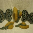"FIVE PIECE SET MOLDED...2 6"" BUTTERFLIES & 3 HATS WITH RIBBON...COUNTRY BLUE"