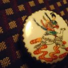 "VINTAGE ASIAN SILVER TRINKET BOX WITH HAND PAINTED PORCELAIN INLAID LID-2 1/2""D"