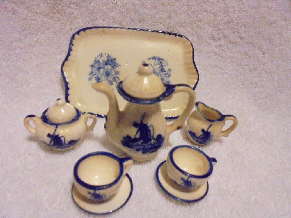 BLUE & WHITE WINDMILL MINATURE PORCELAIN TEA SET.....10PC SET
